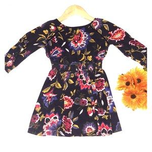 Girls Fall floral dress 5T Old Navy blue